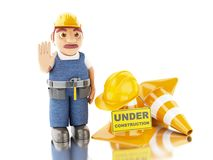 3d Worker with helmet, cones and under construction sign. 3d illustration. Worker with helmet, cones and under construction sign. Construction concept.  white Royalty Free Stock Photos