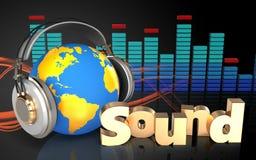 3d spectrum world in headphones Royalty Free Stock Photos