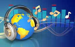 3d spectrum world in headphones Royalty Free Stock Image