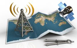 3d blank. 3d illustration of world map with antenna and gps satellite Stock Photos