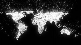 Disintegrating white circuitry world map dissolving into binary data vector illustration
