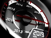 2019 year car speedometer. Countdown concept. 3d illustration of 2019 year car speedometer. Countdown concept Royalty Free Stock Photos