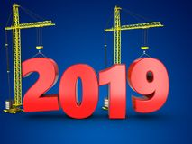 3d 2019 year with crane. 3d illustration of 2019 year with crane over blue background Stock Image