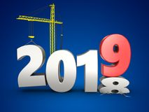 3d 2019 year with crane. 3d illustration of 2019 year with crane over blue background Royalty Free Stock Photos