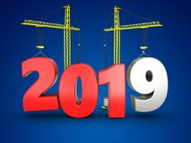 3d 2019 year with crane. 3d illustration of 2019 year with crane over blue background Stock Photos