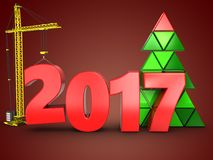 3d 2017 year with crane. 3d illustration of 2017 year with crane over red background Stock Images