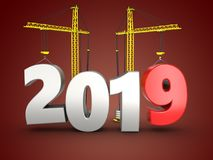 3d 2019 year with crane. 3d illustration of 2019 year with crane over red background Royalty Free Stock Photos
