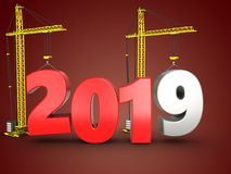 3d 2019 year with crane. 3d illustration of 2019 year with crane over red background Royalty Free Stock Image
