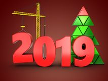 3d 2019 year with crane. 3d illustration of 2019 year with crane over red background Stock Photos