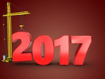 3d 2017 year with crane. 3d illustration of 2017 year with crane over red background Royalty Free Stock Image
