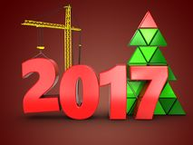 3d 2017 year with crane. 3d illustration of 2017 year with crane over red background Stock Photography