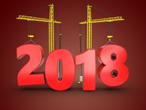 3d 2018 year with crane Stock Photo