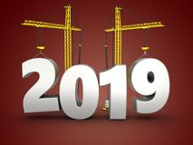 3d 2019 year with crane Royalty Free Stock Images
