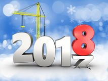 3d 2018 year with crane Royalty Free Stock Images