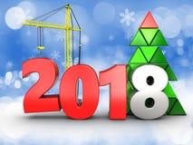 3d 2018 year with crane Stock Photos