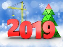 3d 2019 year with crane Stock Image
