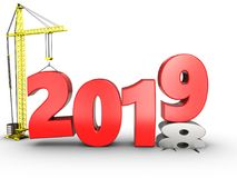3d 2019 year with crane. 3d illustration of 2019 year with crane over white background Royalty Free Stock Photography