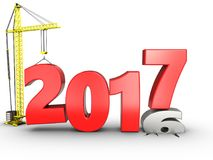 3d 2017 year with crane. 3d illustration of 2017 year with crane over white background Stock Photography