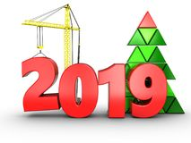 3d 2019 year with crane. 3d illustration of 2019 year with crane over white background Stock Photos
