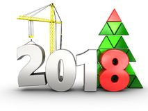 3d 2018 year with crane. 3d illustration of 2018 year with crane over white background royalty free illustration