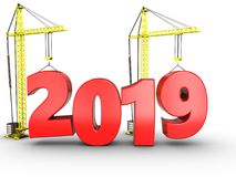 3d 2019 year with crane. 3d illustration of 2019 year with crane over white background Stock Image