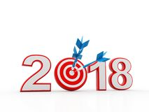 Business Target with 2018, Business Success. 3d illustration of 2018 year sign and arrow with target royalty free illustration