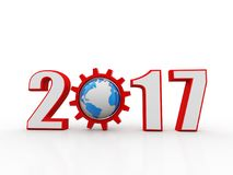 Business success Concept .3d rendering. 3d illustration of 2017 year sign with gear and globe Royalty Free Stock Image
