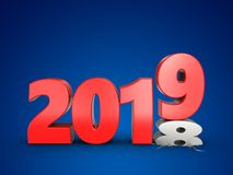 3d 2019 year sign. 3d illustration of 2019 year sign over blue background Royalty Free Stock Photos