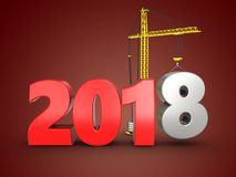 3d 2018 year sign Stock Photography