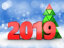 3d 2019 year sign. 3d illustration of 2019 year sign over snow background Stock Photography