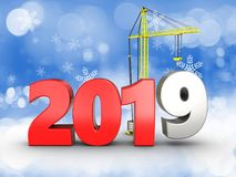3d 2019 year sign. 3d illustration of 2019 year sign over snow background Stock Image