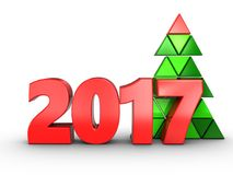 3d 2017 year sign. 3d illustration of 2017 year sign over white background Stock Image