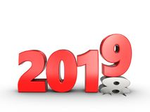 3d 2019 year sign. 3d illustration of 2019 year sign over white background Stock Images
