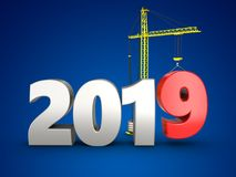 3d 2019 year silver sign. 3d illustration of 2019 year silver sign over blue background Stock Photos
