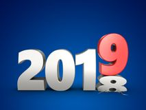 3d 2019 year silver sign. 3d illustration of 2019 year silver sign over blue background Royalty Free Stock Photos