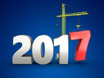3d 2017 year silver sign. 3d illustration of 2017 year silver sign over blue background Royalty Free Stock Photography