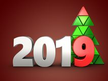 3d 2019 year silver sign. 3d illustration of 2019 year silver sign over red background Royalty Free Stock Image