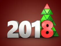 3d 2018 year silver sign Royalty Free Stock Photos