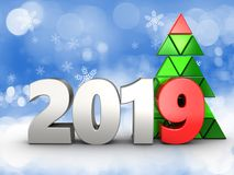 3d 2019 year silver sign. 3d illustration of 2019 year silver sign over snow background Royalty Free Stock Photo