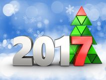 3d 2017 year silver sign. 3d illustration of 2017 year silver sign over snow background Royalty Free Stock Photos