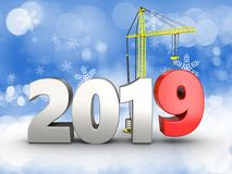 3d 2019 year silver sign. 3d illustration of 2019 year silver sign over snow background Royalty Free Stock Photography