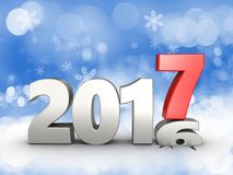 3d 2017 year silver sign. 3d illustration of 2017 year silver sign over snow background Royalty Free Stock Image