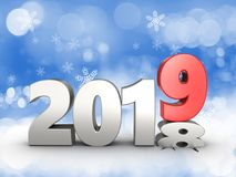 3d 2019 year silver sign Stock Images