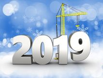 3d 2019 year silver sign. 3d illustration of 2019 year silver sign over snow background Stock Photos