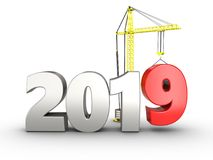 3d 2019 year silver sign. 3d illustration of 2019 year silver sign over white background Royalty Free Stock Image