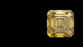 3D illustration yellow asscher diamond Stock Photography