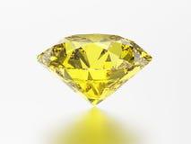 3D illustration yellow emerald round diamond topaz gemstone with Stock Photos
