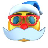 3d yellow emoticon smile with Christmas hat Stock Image