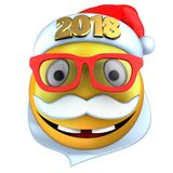 3d yellow emoticon smile with 2018 Christmas hat. 3d illustration of yellow emoticon smile with 2018 Christmas hat over white background Royalty Free Stock Photography