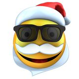 3d yellow emoticon smile with christmas hat Stock Images